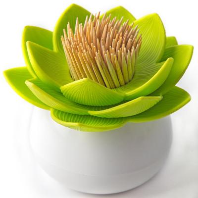 Держатель для зубочисток Lotus белый-зеленый Qualy QL10156-WH-GN