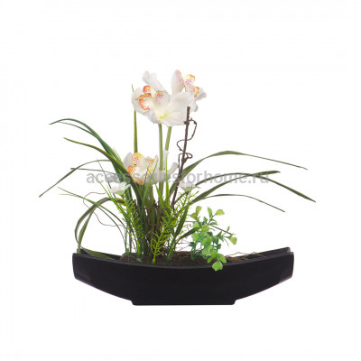 Цветочная композиция Орхидея в черной ладье Engard YW-31