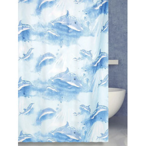 Штора для ванной (Dolphins) голубая 180*180 BatрPlus 21127/0