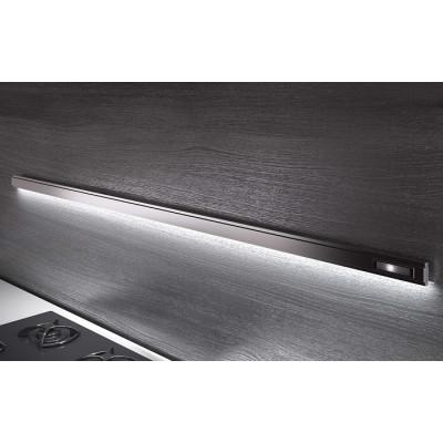 7711Е Рейлинг 600 мм + 4 крючка + встроенный ЛЕД-Светильник LEMI BARRA нержавейка