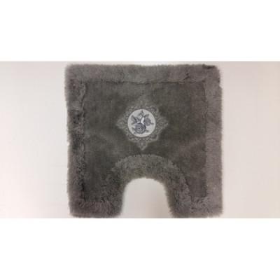 Коврик с вышивкой под туалет серый 50x50см BathPlus Royal HLFT21040-0