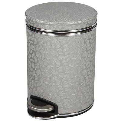 Ведро для мусора 5л Geralis V-FHH-B FLOWER серебро, кант хром