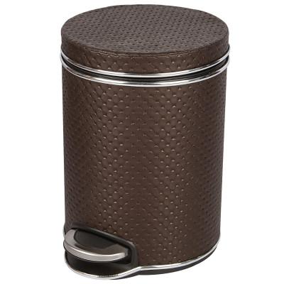 Ведро для мусора 5л Geralis V-PCH-B PUNTO шоколад, кант хром