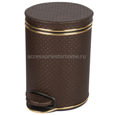 Ведро для мусора 5л Geralis V-PCG-B PUNTO шоколад, кант золото