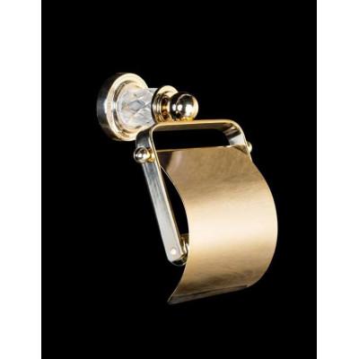Держатель для туалетной бумаги с крышкой Boheme Murano Crystal 10901-CRST-G (Золото)