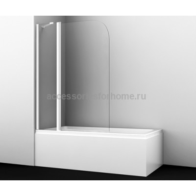 Стеклянная шторка для душа, распашная, двухстворчатая WasserKraft Leine 35P02-110WHITE Fixed