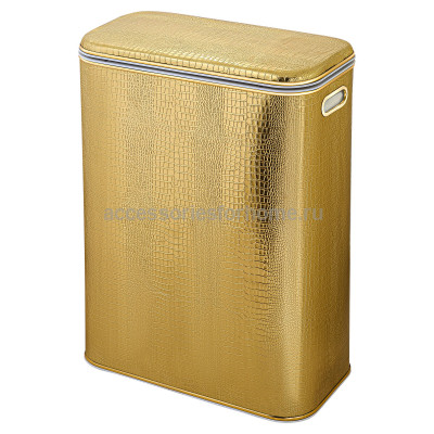 Корзина для белья Geralis KGG-B CROCO золото, кант золото, стандартная