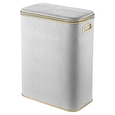 Корзина для белья Geralis KWG-B белая, кант золото, стандартная