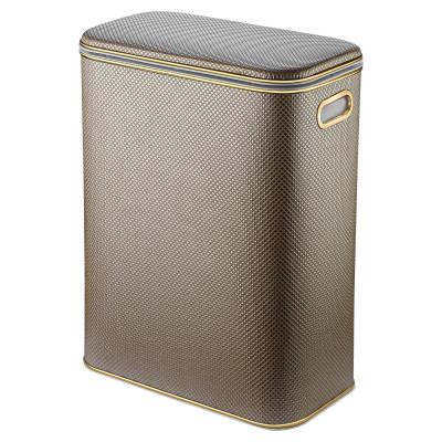 Корзина для белья Geralis RBG-M Ромб коричневая, кант золото, малая