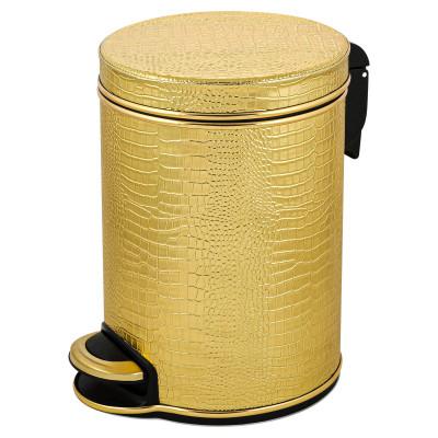 Ведро для мусора 5л Geralis V-KGG-B CROCO золото, кант золото