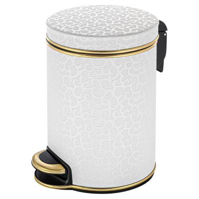 Ведро для мусора 5л Geralis V-FWG-B FLOWER белое, кант золото