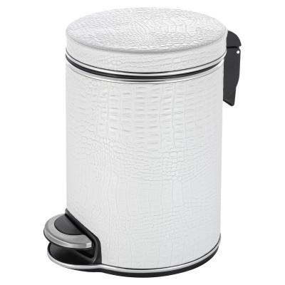 Ведро для мусора 5л Geralis V-KWH-B CROCO белое, кант хром