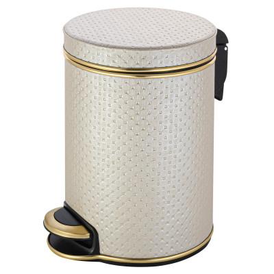 Ведро для мусора 5л Geralis V-PLG-B PUNTO бежевое, кант золото