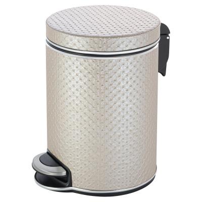 Ведро для мусора 5л Geralis V-PLH-B PUNTO бежевое, кант хром