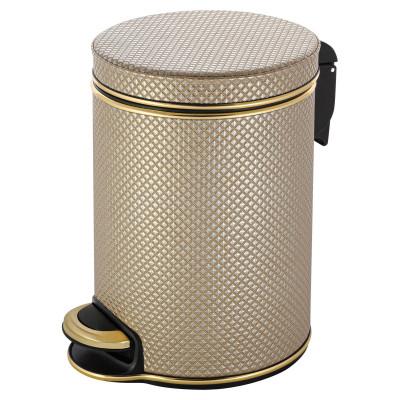 Ведро для мусора 5л Geralis V-RBG-B Ромб темное, кант золото