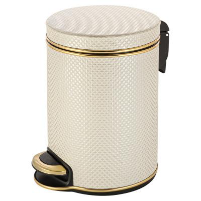 Ведро для мусора 5л Geralis V-RWG-B Ромб белое, кант золото