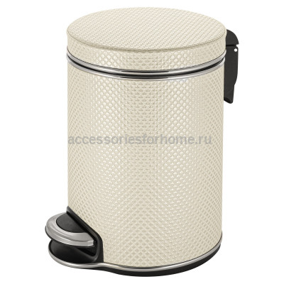 Ведро для мусора 5л Geralis V-RWH-B Ромб белое, кант хром