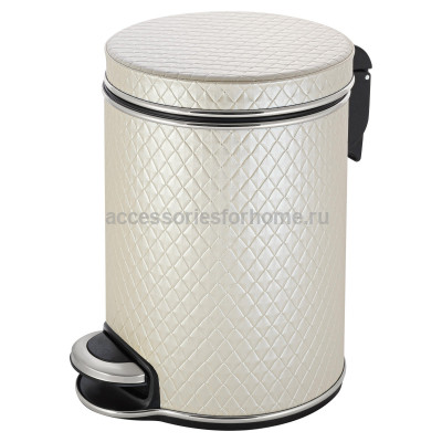 Ведро для мусора 5л Geralis V-NCLH-B  бежевое, кант хром