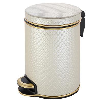 Ведро для мусора 5л Geralis V-NCLG-B бежевое, кант золото