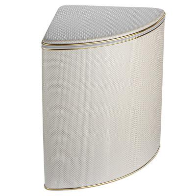 Корзина для белья Geralis RWG-U ромб белый(песочная), золото, угловая