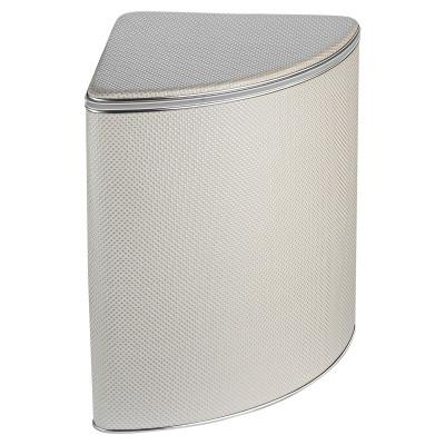 Корзина для белья Geralis RWH-U ромб, белый(песочная), кант хром, угловая