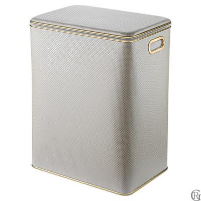 Корзина для белья Geralis RWG-S Ромб белая(песочная) , кант золото, большая