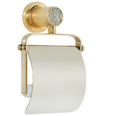 Держатель туалетной бумаги с крышкой Boheme Royale Cristal золото 10921-G